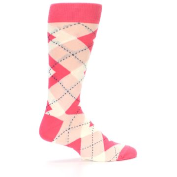 Image of Guava Bellini Pink Argyle Wedding Groomsmen Men's Dress Socks (side-1-24)