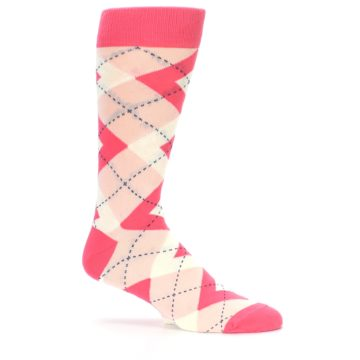 Image of Guava Bellini Pink Argyle Wedding Groomsmen Men's Dress Socks (side-1-25)