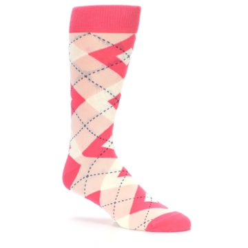 Image of Guava Bellini Pink Argyle Wedding Groomsmen Men's Dress Socks (side-1-26)