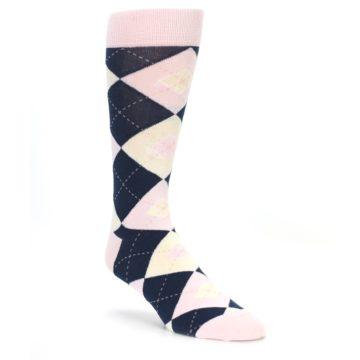 681c37f0ba1c Image of Petal Pink Blush Navy Argyle Wedding Groomsmen Men's Dress Socks.  QUICK VIEW. CUSTOMIZABLE