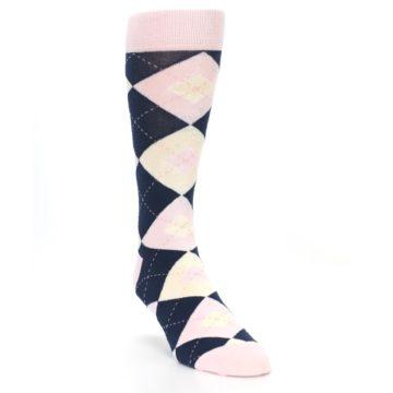 Image of Petal Pink Blush Navy Argyle Wedding Groomsmen Men's Dress Socks (side-1-front-02)