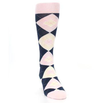 Image of Petal Pink Blush Navy Argyle Wedding Groomsmen Men's Dress Socks (side-1-front-03)