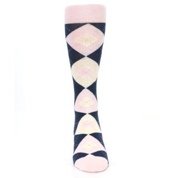 Image of Petal Pink Blush Navy Argyle Wedding Groomsmen Men's Dress Socks (front-04)