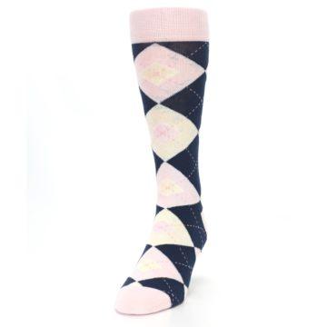 Image of Petal Pink Blush Navy Argyle Wedding Groomsmen Men's Dress Socks (side-2-front-06)