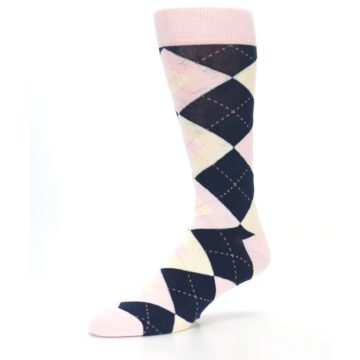 Image of Petal Pink Blush Navy Argyle Wedding Groomsmen Men's Dress Socks (side-2-09)