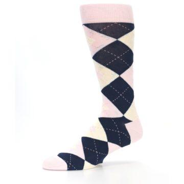 Image of Petal Pink Blush Navy Argyle Wedding Groomsmen Men's Dress Socks (side-2-10)