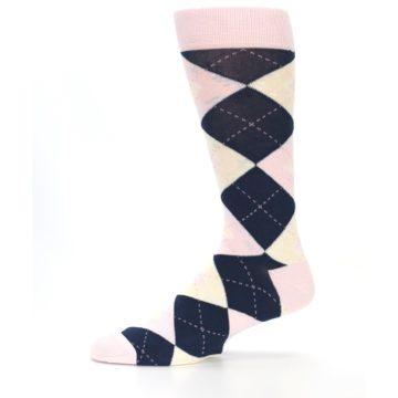 Image of Petal Pink Blush Navy Argyle Wedding Groomsmen Men's Dress Socks (side-2-11)