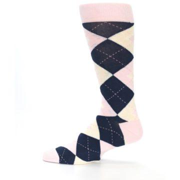 Image of Petal Pink Blush Navy Argyle Wedding Groomsmen Men's Dress Socks (side-2-12)