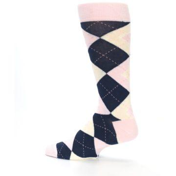 Image of Petal Pink Blush Navy Argyle Wedding Groomsmen Men's Dress Socks (side-2-13)
