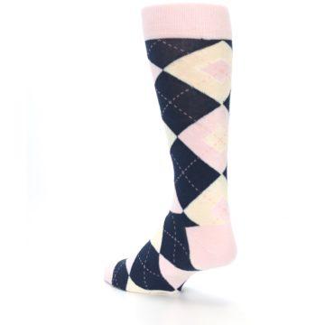 Image of Petal Pink Blush Navy Argyle Wedding Groomsmen Men's Dress Socks (side-2-back-15)