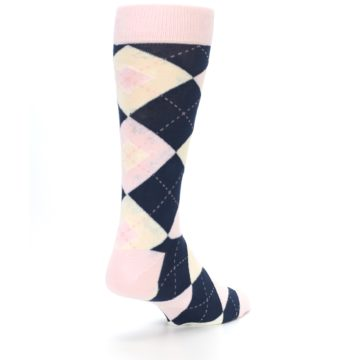 Image of Petal Pink Blush Navy Argyle Wedding Groomsmen Men's Dress Socks (side-1-back-21)