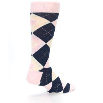 Image of Petal Pink Blush Navy Argyle Wedding Groomsmen Men's Dress Socks (side-1-back-22)