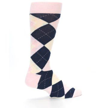 Image of Petal Pink Blush Navy Argyle Wedding Groomsmen Men's Dress Socks (side-1-23)