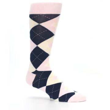 Image of Petal Pink Blush Navy Argyle Wedding Groomsmen Men's Dress Socks (side-1-25)