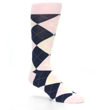 Image of Petal Pink Blush Navy Argyle Wedding Groomsmen Men's Dress Socks (side-1-26)