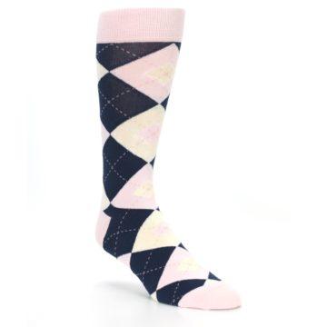 Image of Petal Pink Blush Navy Argyle Wedding Groomsmen Men's Dress Socks (side-1-27)