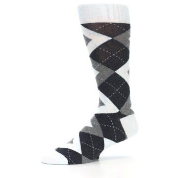 Image of Mist Light Blue Gray Argyle Wedding Groomsmen Men's Dress Socks (side-2-10)