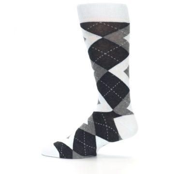 Image of Mist Light Blue Gray Argyle Wedding Groomsmen Men's Dress Socks (side-2-12)