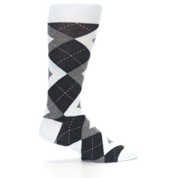 Image of Mist Light Blue Gray Argyle Wedding Groomsmen Men's Dress Socks (side-1-24)