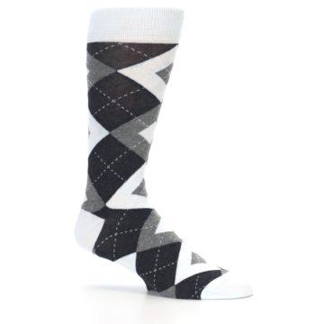 Image of Mist Light Blue Gray Argyle Wedding Groomsmen Men's Dress Socks (side-1-25)
