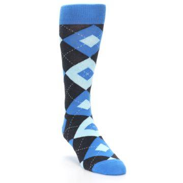 Image of Ocean Capri Blue Gray Argyle Wedding Groomsmen Men's Dress Socks (side-1-front-02)