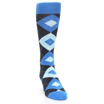 Image of Ocean Capri Blue Gray Argyle Wedding Groomsmen Men's Dress Socks (side-1-front-03)