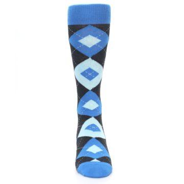 Image of Ocean Capri Blue Gray Argyle Wedding Groomsmen Men's Dress Socks (front-04)