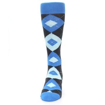 Image of Ocean Capri Blue Gray Argyle Wedding Groomsmen Men's Dress Socks (front-05)