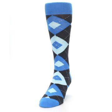 Image of Ocean Capri Blue Gray Argyle Wedding Groomsmen Men's Dress Socks (side-2-front-06)