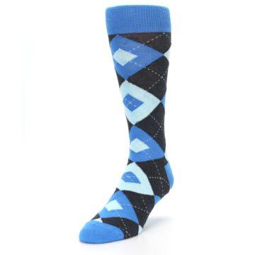 Image of Ocean Capri Blue Gray Argyle Wedding Groomsmen Men's Dress Socks (side-2-front-07)