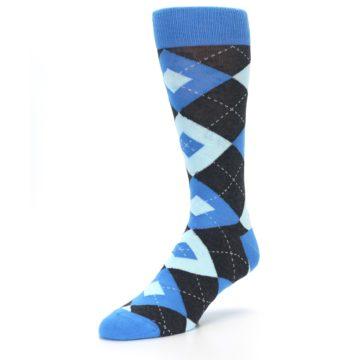 Image of Ocean Capri Blue Gray Argyle Wedding Groomsmen Men's Dress Socks (side-2-front-08)