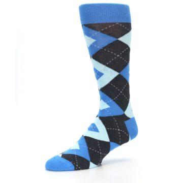 Image of Ocean Capri Blue Gray Argyle Wedding Groomsmen Men's Dress Socks (side-2-09)