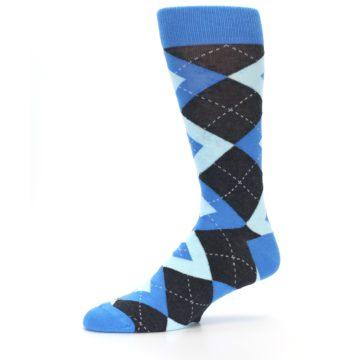 Image of Ocean Capri Blue Gray Argyle Wedding Groomsmen Men's Dress Socks (side-2-10)