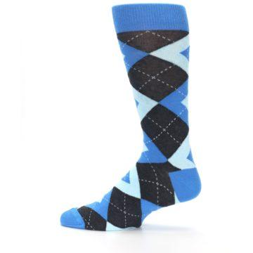 Image of Ocean Capri Blue Gray Argyle Wedding Groomsmen Men's Dress Socks (side-2-12)