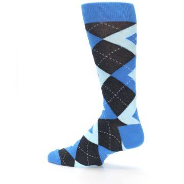 Image of Ocean Capri Blue Gray Argyle Wedding Groomsmen Men's Dress Socks (side-2-13)