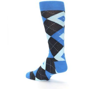 Image of Ocean Capri Blue Gray Argyle Wedding Groomsmen Men's Dress Socks (side-2-back-14)