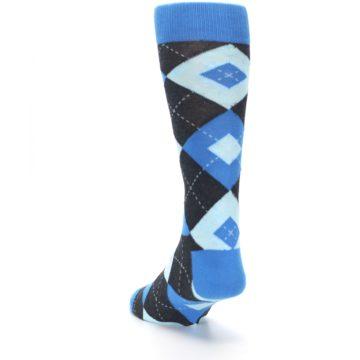 Image of Ocean Capri Blue Gray Argyle Wedding Groomsmen Men's Dress Socks (side-2-back-16)