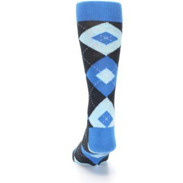 Image of Ocean Capri Blue Gray Argyle Wedding Groomsmen Men's Dress Socks (back-17)