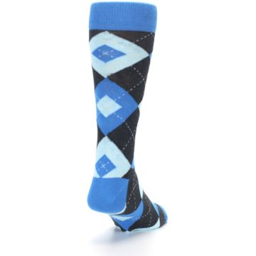 Image of Ocean Capri Blue Gray Argyle Wedding Groomsmen Men's Dress Socks (side-1-back-20)