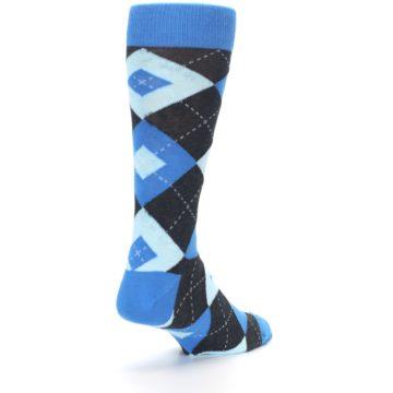 Image of Ocean Capri Blue Gray Argyle Wedding Groomsmen Men's Dress Socks (side-1-back-21)