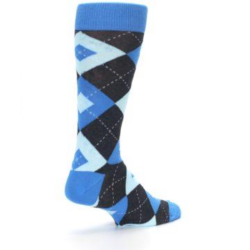 Image of Ocean Capri Blue Gray Argyle Wedding Groomsmen Men's Dress Socks (side-1-back-22)