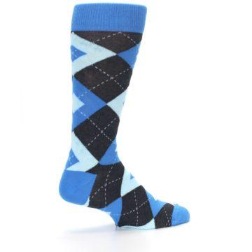 Image of Ocean Capri Blue Gray Argyle Wedding Groomsmen Men's Dress Socks (side-1-23)