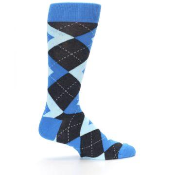 Image of Ocean Capri Blue Gray Argyle Wedding Groomsmen Men's Dress Socks (side-1-24)