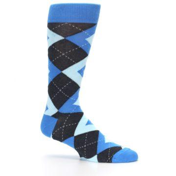 Image of Ocean Capri Blue Gray Argyle Wedding Groomsmen Men's Dress Socks (side-1-25)
