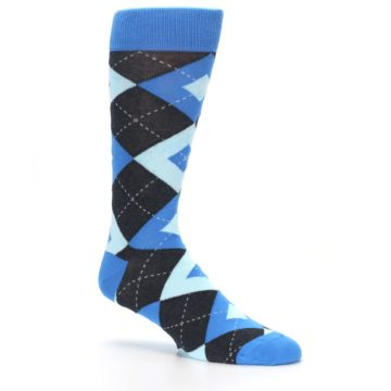 Image of Ocean Capri Blue Gray Argyle Wedding Groomsmen Men's Dress Socks (side-1-26)