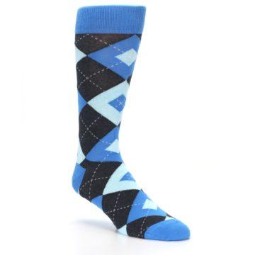 Image of Ocean Capri Blue Gray Argyle Wedding Groomsmen Men's Dress Socks (side-1-27)