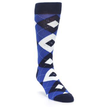Image of Horizon Mist Blue Navy Argyle Men's Dress Socks (side-1-front-02)
