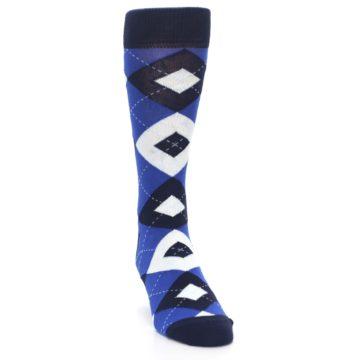 Image of Horizon Mist Blue Navy Argyle Men's Dress Socks (side-1-front-03)