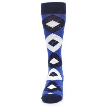 Image of Horizon Mist Blue Navy Argyle Men's Dress Socks (front-05)