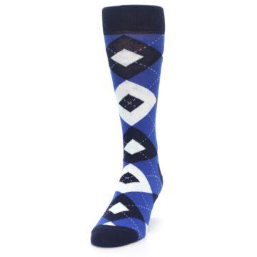 Image of Horizon Mist Blue Navy Argyle Men's Dress Socks (side-2-front-06)